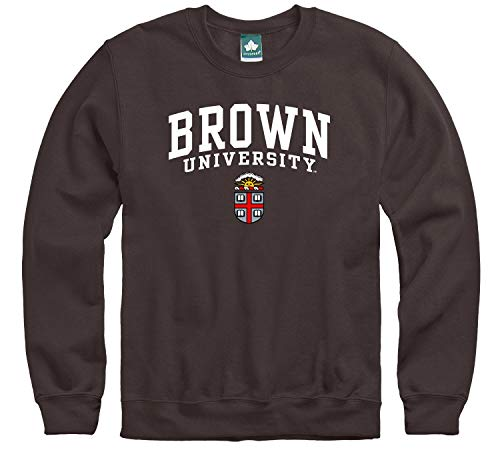 Ivysport Brown University Crewneck Sweatshirt, Heritage Logo, Brown, Small, Cotton Poly Blend for Men and Women, NCAA Officially Licensed Authentic Premium School Apparel