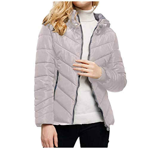 Damen Winter Jacke Steppjacke mit Kapuze,Mode Einfarbig Winterjacke Stepp Mantel Lange Ärmel Reißverschluss Hoodie Übergangsmantel Windjacke Winterparka