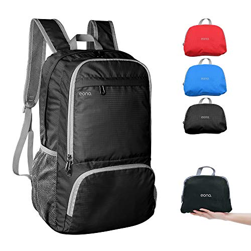 Amazon Brand - Eono - 30L Ultra Lightweight Backpack, Water Resistant Rucksack, Unisex Small Daypack for Men Women Kids Outdoor Camping Mountaineering Walking Cycling Climbing,Black