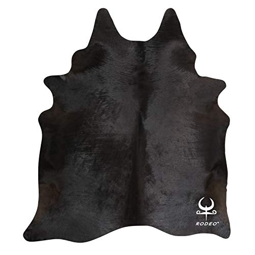rodeo Natural Black Brazilian Cow Skin Area Cowhide Rug Size Approx 6X6 ft