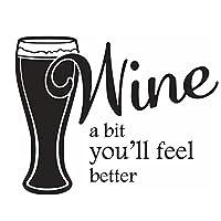 Ytsmsyyウィンドウビニールステッカーワイン少し気分が良くなる引用ウォールステッカーワインビール壁ポスター取り外し可能なバーキッチンの装飾57x44cm