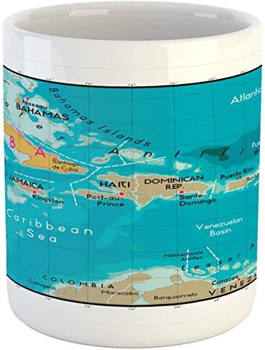 Taza Wanderlust, mapa de Cuba y mar Caribe, océano, geografía política, bordes de las tierras, taza de café de cerámica para bebidas de té, 11 onzas, multicolor