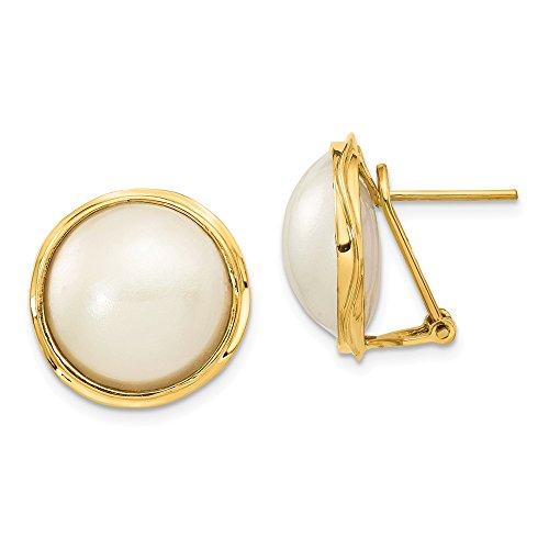 Orecchini a perno da donna in oro giallo 14-15 mm con perle coltivate Mabe