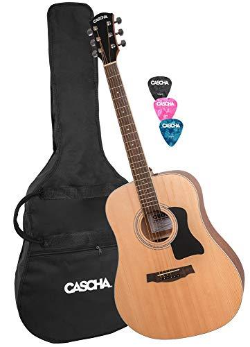 CASCHA Westerngitarre Set, inkl. Gigbag/Tasche, 3 Plektren, Dreadnought, Akustik Gitarre, Western Acoustic Guitar, Stahlsaiten, Anfänger & Fortgeschrittene