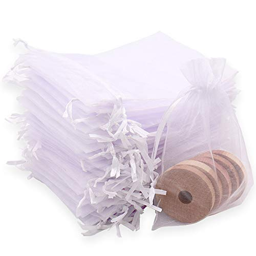 Leeyunbee 100PCS 10x15cm Bolsa de Organza Blanco, Bolsitas de Organza, Bolsas para Envoltura de Joyas, Bolsas de Organza de Regalo con Cordón para Boda Favores Joyas y Dulces