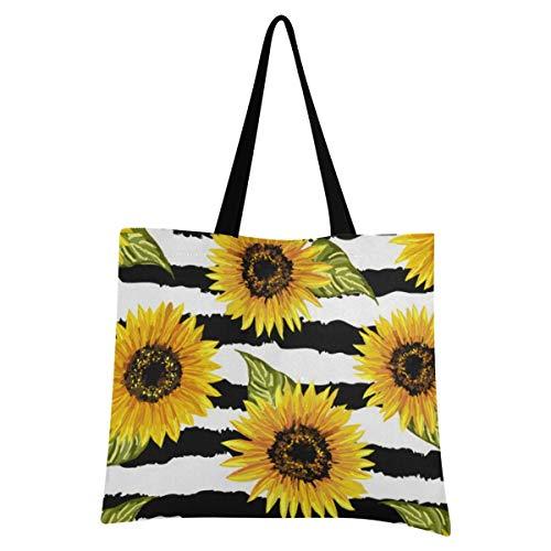 XIXIXIKO - Bolsa de lona ligera con diseño de girasoles y rayas florales para la playa, para el hombro, resistente al hombro, para mujeres, niñas, compras, gimnasio, playa, viajes diarios