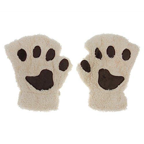 guanti gatto Unimango donna inverno soffici orso gatto di peluche zampa artiglio guanti mezze dita carino guanti Beige Taglia unica