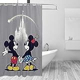 BLACKbiubiubiu Cortina de ducha impresa de Mickey Mouse de 152 x 182 cm, cortina impermeable para baño
