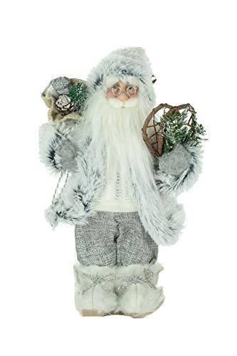 JJ's 30,5 cm en tissu blanc Père Noël avec raquettes à neige