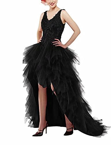 X/Y Vestido de novia asimétrico de encaje con cuello en V, vintage, vestido de noche, vestido de cóctel, vestido de baile, vestido de princesa, espalda descubierta Negro 44