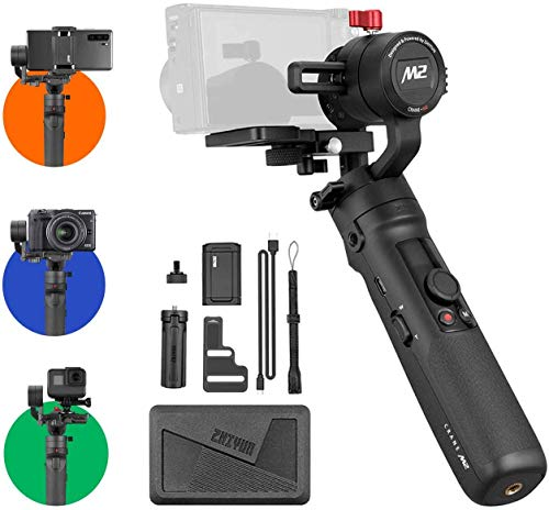Zhiyun Crane M2 Gimbal [Official Dealer], 3-Axis Handheld Stabilizer Compatible for Sony A6000/A6300/A6400/A6500/Canon M6/G7 X Mark II Hero 7/6/5, Smartphones, Quick On/Off, 720g Max Payload