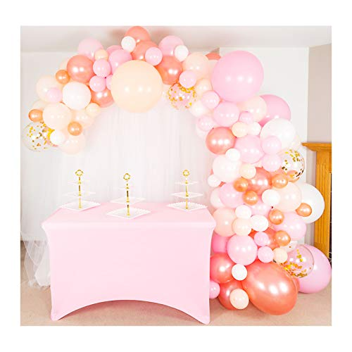 Shimmer and Confetti 140 Pack Premium Balloon Arch and Garland Kit, 16 foot Tape, Pink, Peach, White, Rose Gold, 5 Confetti, Glue. Party Decoration for Birthday, Baby, Bridal Shower, Wedding
