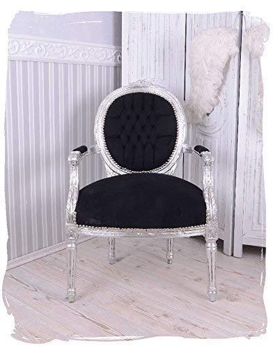 Sillón fastuoso PLATA NEGRO Medallón sillón barroco silla con Apoyabrazos Palazzo EXCLUSIVAMENTE