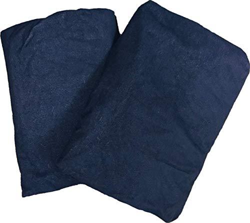 【tocoとふんわり生活】(120×200×30cm)防水シーツ ボックスシーツ セミダブル2枚セット(全5サイズ5色)サイド部分も防水 デイリーパイル おねしょシーツ/ネイビー