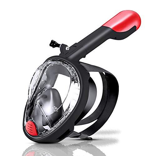 Máscara de Buceo Cara Completa,Máscara de Snorkel Antivaho y Antifugas,Máscara Gafas Buceo 180 Panorámica y Soporte para Cámara y Tubo de Respiración Plegable (Negro)
