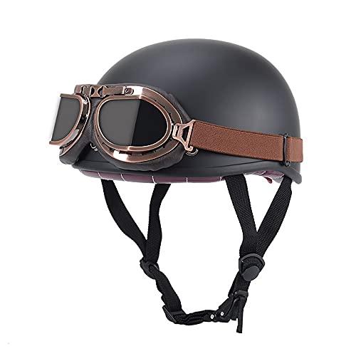 LUNANA Halbschale Jet-Helm ECE-Zulassung, Adults Unisex Motorrad Sicherheitshelm mit Schutzbrille, Retro Vintage Halbhelm, für Scooter Mofa Helm Pilot (57~62CM)