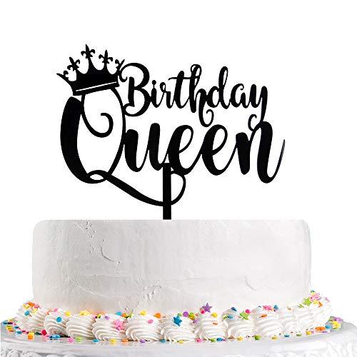 Koningin Verjaardagstaart Topper Zwart Gelukkige Verjaardagstaart Topper, 16e - 18e - 21e - 30e - 40e - 50e - 60e - 70e - 80e - 90e - 100e Taart Toppers Verjaardagsfeestdecoratie