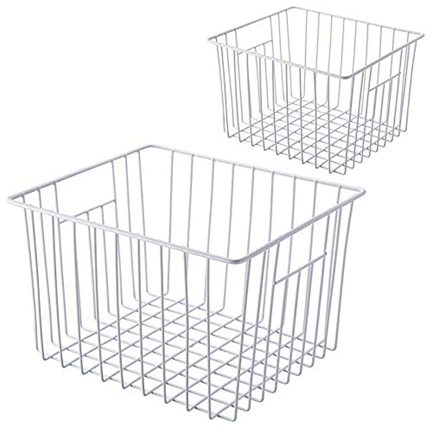 Household Wire Storage Organizer Refrigerator Bin Basket w/Built-in Handles for Bathroom Cabinets, Shelves, Closets, Bedroom, Kitchen, Pack of 2, White