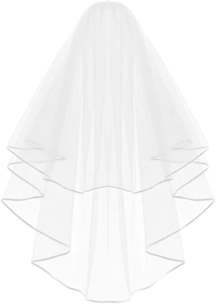 J&G Studio Bridal Veil Women's Simple Tulle Short Bachelorette Party Wedding Veil Ribbon Edge With Comb for Wedding Party