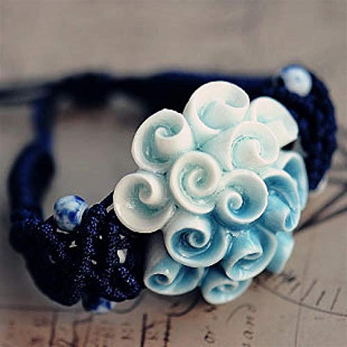 Shability Pure Handmade Blue Ball-flower Glazed Ceramic Original Chinese Style Hand-woven Mercerized Rope Bracelet Fashion Ethnic Jewelry yangain