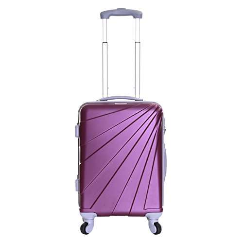 Slimbridge Hard Cabin Carry-on Hand Luggage Suitcase Bag 55 cm 2.5 kg 35 litres 4 Spinner Wheels Number Lock, Fusion Purple