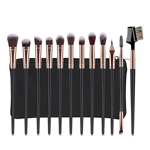 CVBF Pinceau Maquillage 1 Set Professionnel pinceaux de Maquillage Fard à paupières Poudre Cils pinceaux de Maquillage avec Sac + cosmétique Éponge (Color : 12Pcs, Size : One Size)