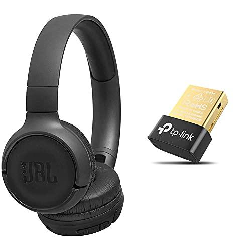 JBL Tune500BT On-Ear Bluetooth-Kopfhörer in Schwarz – Faltbarer, kabelloser Ohrhörer mit integriertem Headset & TP-Link UB400 Nano USB Bluetooth 4.0 Adapter Dongle
