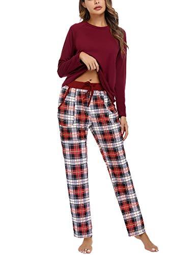 Airou Conjuntos de Pijama, Mujer Pijama Conjunto Camiseta y Pantalones Plaid Pijama Largo Mujer Elegante Manga Pantalon Largos Suave Pijama Mujer 2 Piezas Invierno
