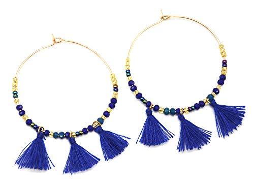BO1388F - Boucles d'Oreilles Créoles Métal Doré avec Perles et Pompons Bleu Roi