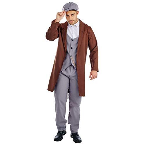 Fun Shack Graues Gangster Kostüm mit Schirmmütze für Herren, 20er Jahre Anzug - M
