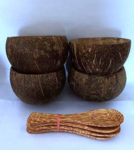 Bols de noix de coco, coco bols, Cuillères, Lot de 4 ,Idéal pour faire des bougies, Durable, fabriqués à la main, respectueux des végétaliens. Pour le petit déjeuner, la décoration