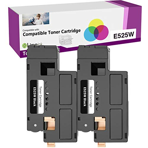 Limeink 2 Black Compatible High Yield Laser Toner Cartridges Replacement for Dell E525W 525W E525 525 H3M8P DPV4T Compatible with Dell E525W, E525DW Color Laser Printers Ink