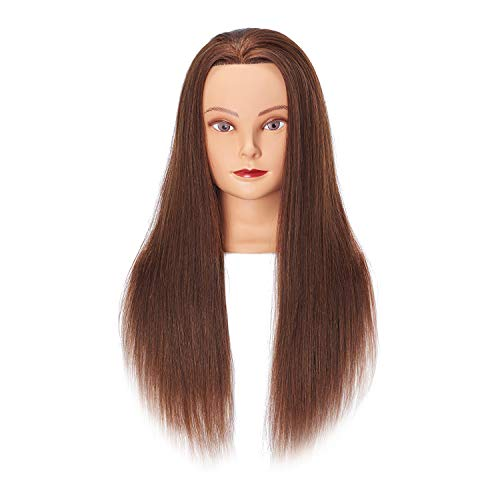 Hairginkgo Mannequin Head 24-26  Human Hair Manikin Head Hairdresser Training Head Cosmetology Doll Head for Styling Dye Cutting Braiding Practice with Clamp Stand (92018LB0418)