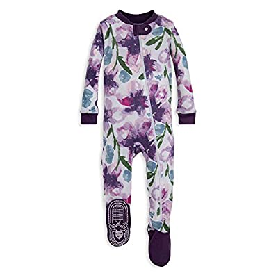 Burt's Bees Baby Baby Girls Pajamas, Zip Front Non-Slip Footed Sleeper PJs, 100% Organic Cotton, Purple Watercolor Daylily, 18 Months