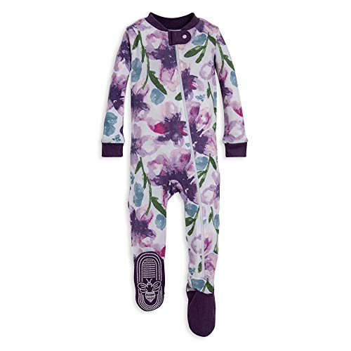Burt's Bees Baby baby girls Pajamas, Zip Front Non-slip Footed Pjs, 100% Organic Cotton and Toddler Sleepers, Purple Watercolor Daylily, 18 Months US