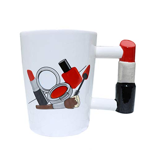 EKUEE 400ml Girl Tools Adore Nail Varnish Shaped Handle Mug Lipstick Polish Handled Mug Unique Gift Tea Cup