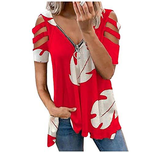 Guanghuansishe Damen Blusen Elegante Reißverschluss Bluse Tunika Oberteile T-Shirt V-Ausschnitt Tops Damen T-Shirt Sommer Tunika Lose Oberteil V-Ausschnitt Tops Tops Sommerbluse Tops Shirt