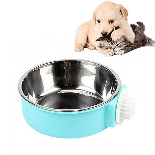 SUOXU Crate Dog Bowl, 2-in-1Crate Water Bowl, Pet Hanging Bowl, abnehmbare Edelstahl-Hundenapf für Kisten und Käfige (14 cm)
