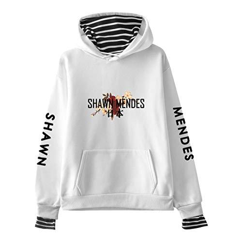CTOOO 2018 Damen Einfach Und Einfach Shawn Mendes Gedenkkleid, Gefälschte Zweiteilige Langärmlige Hoodie Sweatshirt, Schwarz/Grau Pullover Jacke, XXS-XXL