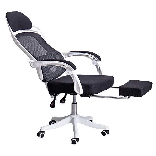 LYJBD Silla de videojuegos giratoria ajustable con respaldo alto, con reposacabezas y silla de ordenador ergonómica de malla transpirable agradable al tacto