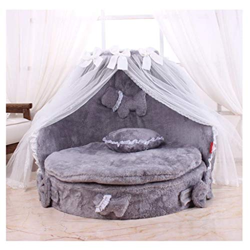 Xiaoli Cute Lace Princess Dog Basket Bed Cat Puppy Pet Beds Pet Dream Nest Pet Kennel Cat Dog Beds Cat Dog Sofa (Color : Gray)