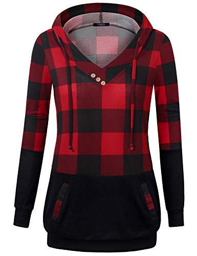 Tunic Hoodies,VALOLIA Womens Plaid Ugly Christmas Sweater Long Sleeve Tunics for Women to Wear with Leggings Front Pockets Plus Size Fall V Neck Shirt Hooded Sweatshirt Checkered Drawstring Sweaters