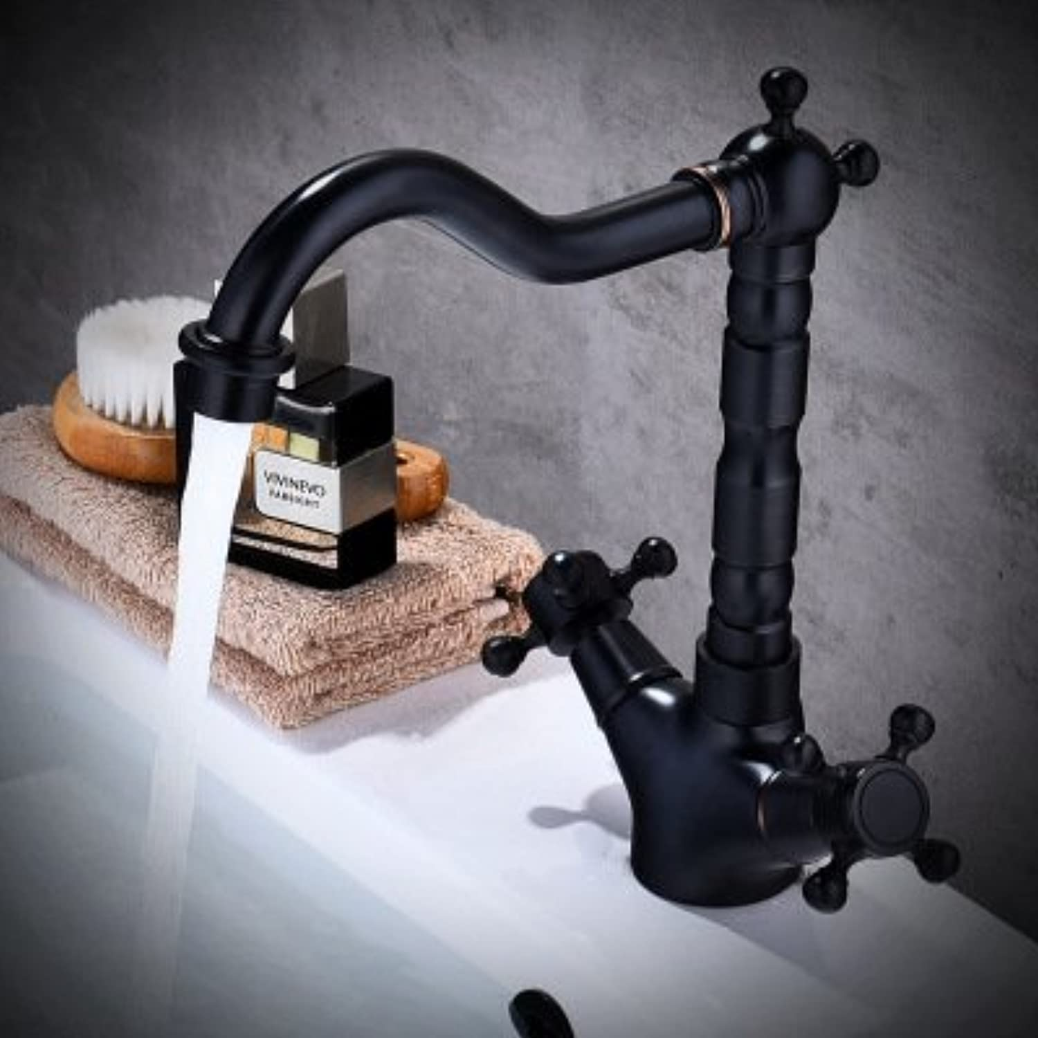 ERCZYO Black antique above counter basin faucet hot and cold wash basin copper bathroom washbasin mixing valve faucet (Size   Short)
