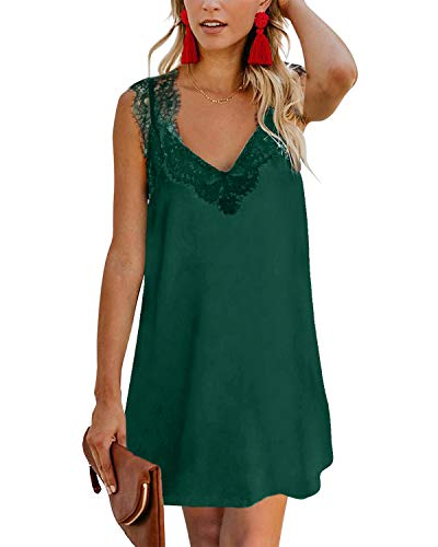 YOINS Sommerkleid Damen Kurze Elegant Strandkleid Schulterfrei Blumenmuster Sexy Kleid Ärmellos Minikleider Lace-grün XL