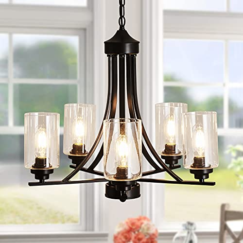 SZXYKEJI Black 5-Lights Glass Chandelier,Rustic Metal Pendant Lighting,Ceiling Light Fixtures Hanging for Farmhouse Kitchen Living Room Foyer Dining Room.