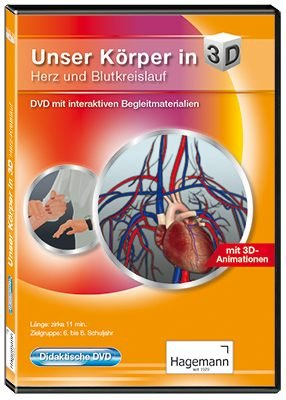 Unser Körper in 3D - Herz und Blutkreislauf - Didaktische DVD mit interaktiven Begleitmaterialien - Film und interaktive Tafelbilder auf DVD für PC, Beamer und Whiteboard - Hagemann 180615 - Einzel- und Schullizenz
