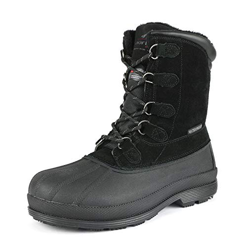 NORTIV 8 Men's 170390-M Black Insulated Waterproof Work Snow Boots Size 12 M US