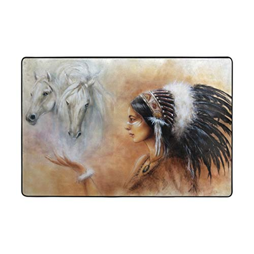 My Little Nest Area Rug Indian Woman and Two White Horse Lightweight Non-Slip Soft Mat 4' x 6', Memory Sponge Indoor Outdoor Decor Carpet for Entrance Living Room Bedroom Office Kitchen Hallway