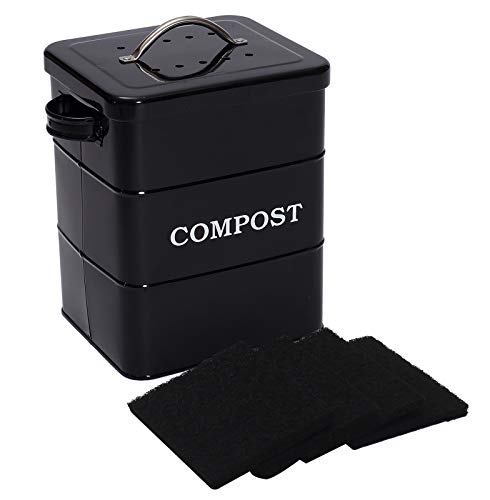 Xbopetda Stainless Steel Compost Bin for Kitchen Countertop 1 Gallon Includes Charcoal Filterwith Lid and HandleComposter for Zero Waste Recycling Kitchen Compost Bin Compost Pail -Black