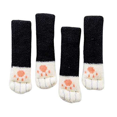 FinWell 4 PCS Cats Paw Chair Socks Anti-Scratches Floor Protective Mat Socks Wear-Resistant Cover Suitable for Tables and Chairs